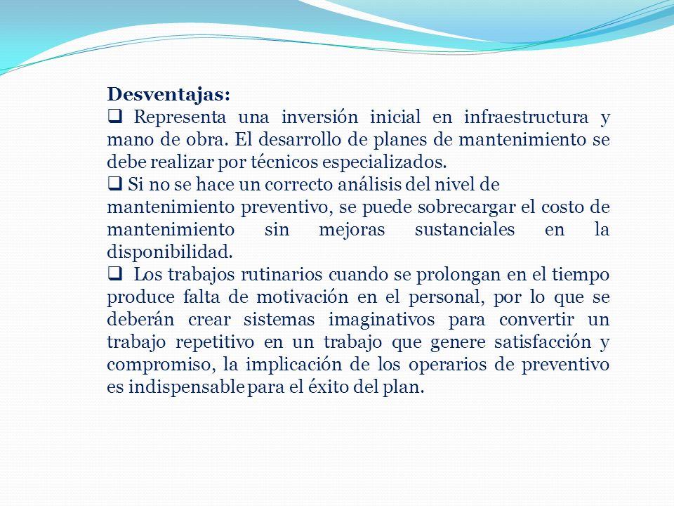 Desventajas: Representa una inversión inicial en infraestructura y mano de obra. El desarrollo de planes de mantenimiento se debe realizar por técnico