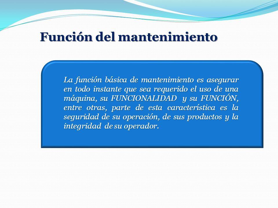 La función básica de mantenimiento es asegurar en todo instante que sea requerido el uso de una máquina, su FUNCIONALIDAD y su FUNCIÓN, entre otras, p