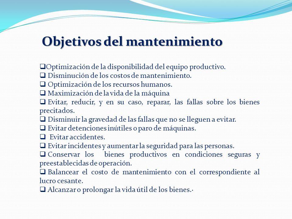 Objetivos del mantenimiento Optimización de la disponibilidad del equipo productivo. Disminución de los costos de mantenimiento. Optimización de los r