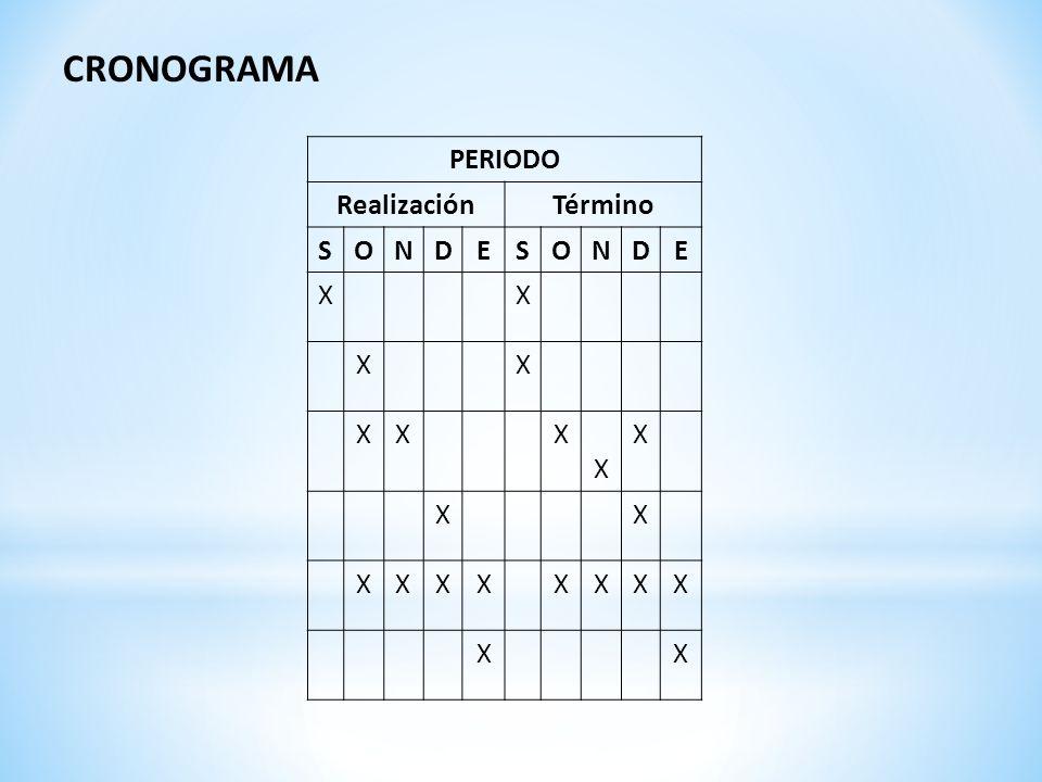 CRONOGRAMA PERIODO RealizaciónTérmino SONDESONDE XX XX XXX X X XX XXXXXXXX XX