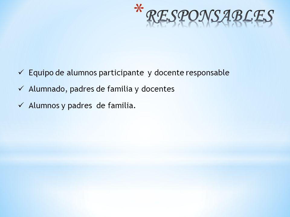 Equipo de alumnos participante y docente responsable Alumnado, padres de familia y docentes Alumnos y padres de familia.