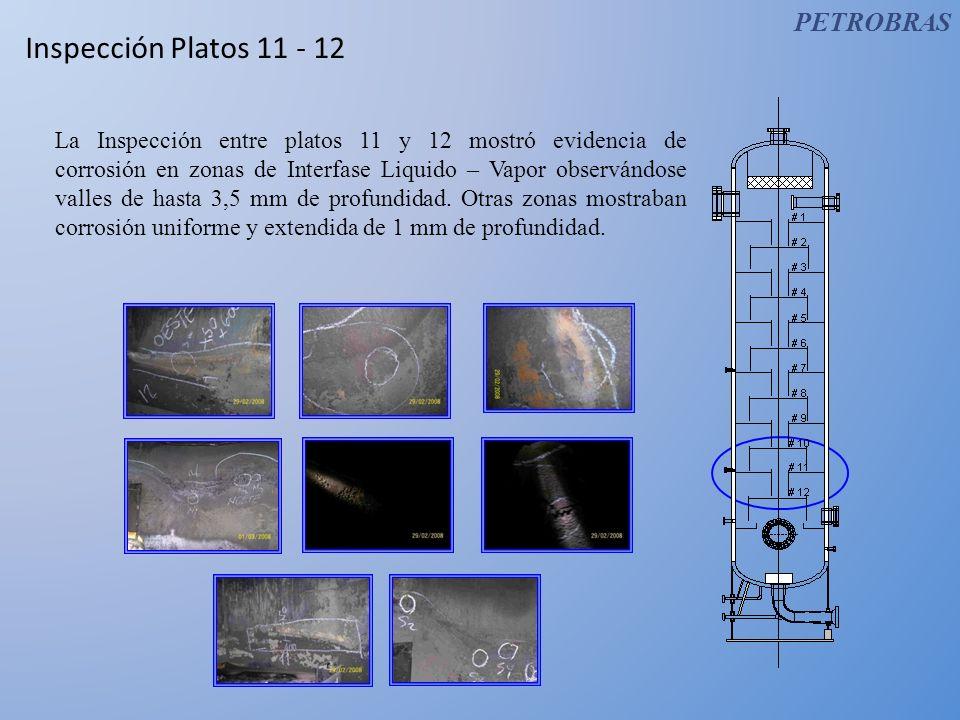 Inspección Platos 11 - 12 La Inspección entre platos 11 y 12 mostró evidencia de corrosión en zonas de Interfase Liquido – Vapor observándose valles d