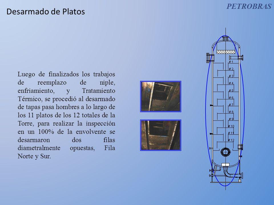 Desarmado de Platos Luego de finalizados los trabajos de reemplazo de niple, enfriamiento, y Tratamiento Térmico, se procedió al desarmado de tapas pa