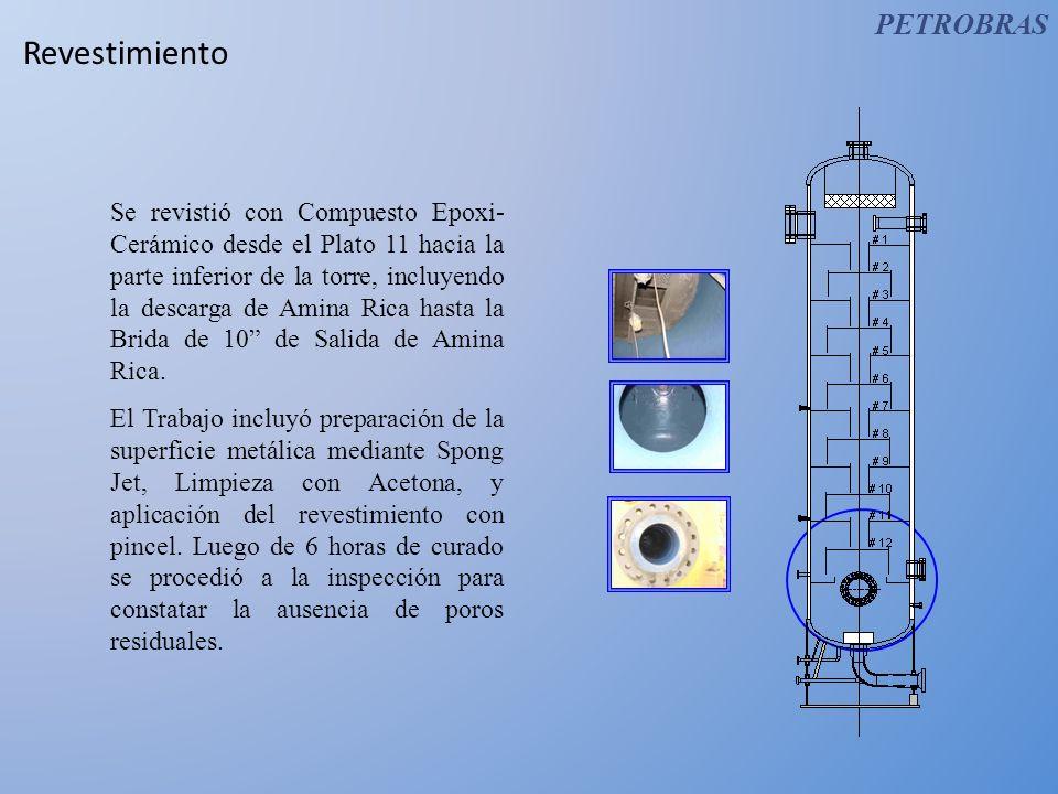 Revestimiento Se revistió con Compuesto Epoxi- Cerámico desde el Plato 11 hacia la parte inferior de la torre, incluyendo la descarga de Amina Rica ha