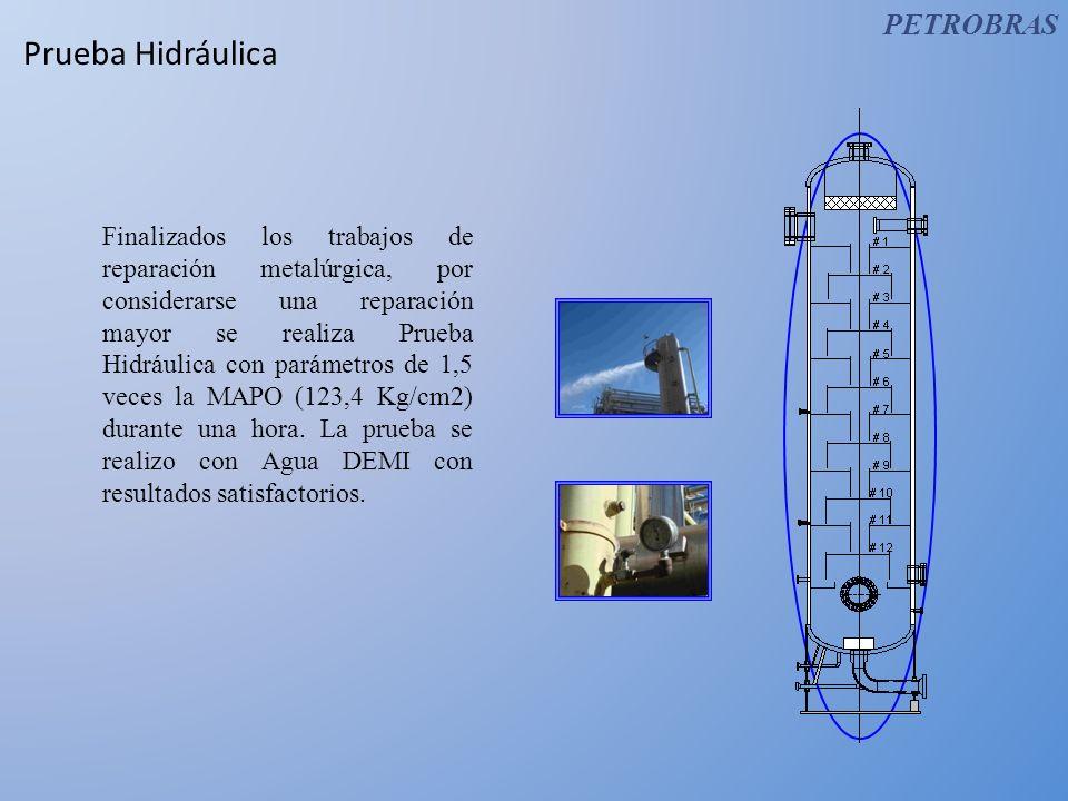 Prueba Hidráulica Finalizados los trabajos de reparación metalúrgica, por considerarse una reparación mayor se realiza Prueba Hidráulica con parámetro