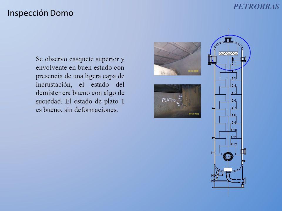 Inspección Domo Se observo casquete superior y envolvente en buen estado con presencia de una ligera capa de incrustación, el estado del demister era