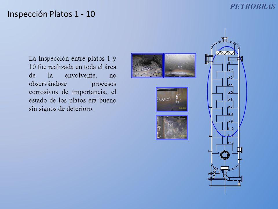Inspección Platos 1 - 10 La Inspección entre platos 1 y 10 fue realizada en toda el área de la envolvente, no observándose procesos corrosivos de impo