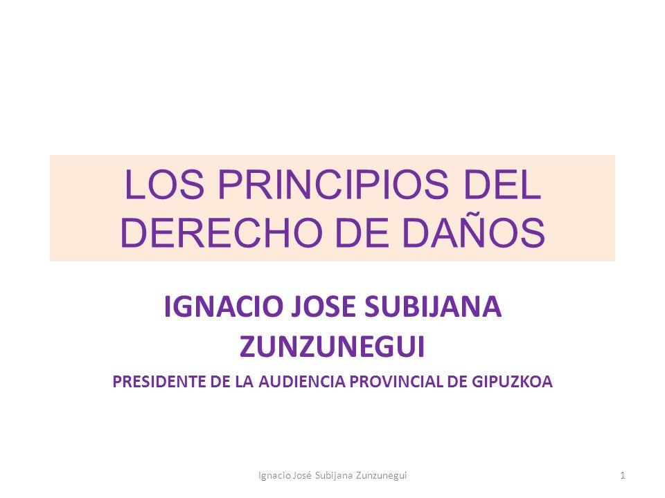 LOS PRINCIPIOS DEL DERECHO DE DAÑOS IGNACIO JOSE SUBIJANA ZUNZUNEGUI PRESIDENTE DE LA AUDIENCIA PROVINCIAL DE GIPUZKOA 1Ignacio José Subijana Zunzuneg