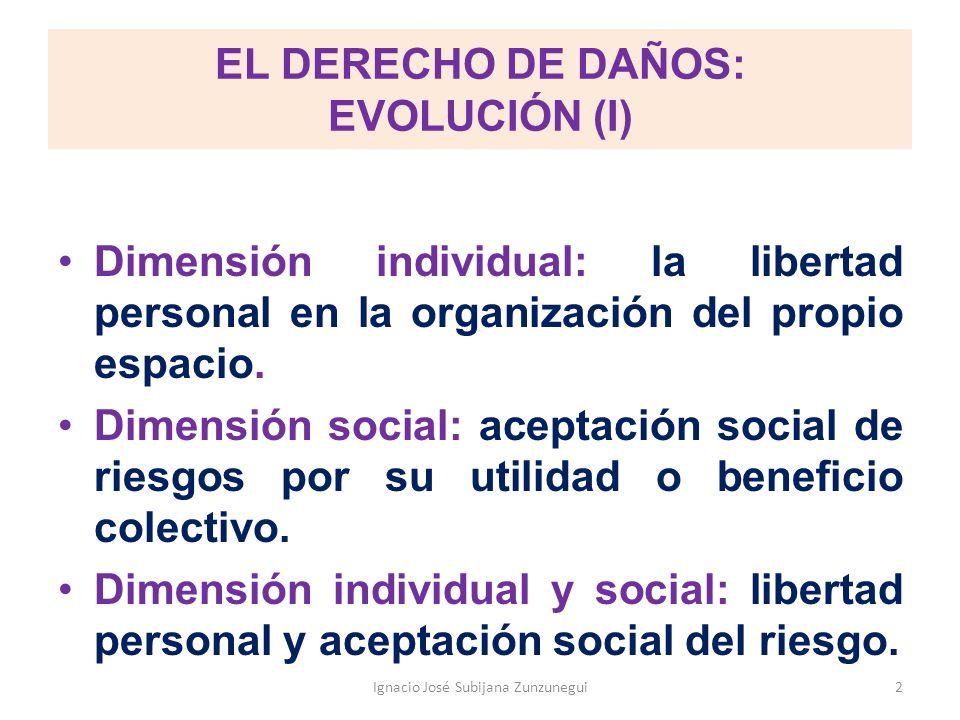 EL DERECHO DE DAÑOS: EVOLUCIÓN (I) Dimensión individual: la libertad personal en la organización del propio espacio. Dimensión social: aceptación soci