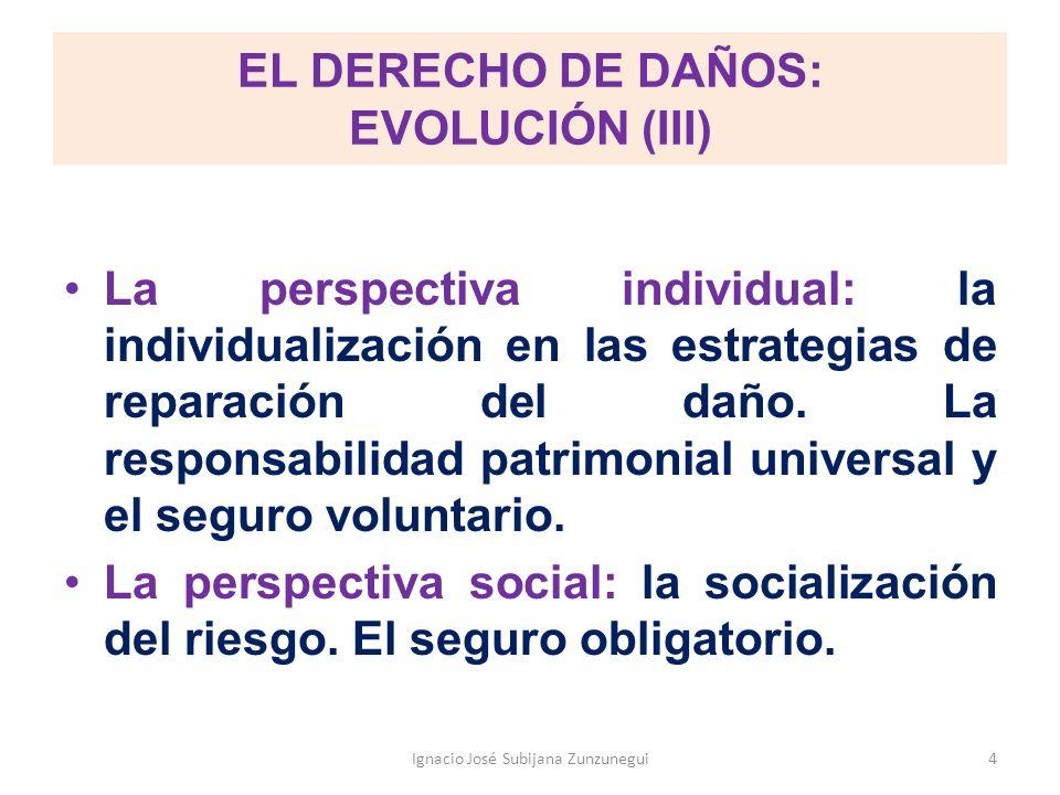 EL DERECHO DE DAÑOS: EVOLUCIÓN (III) La perspectiva individual: la individualización en las estrategias de reparación del daño. La responsabilidad pat