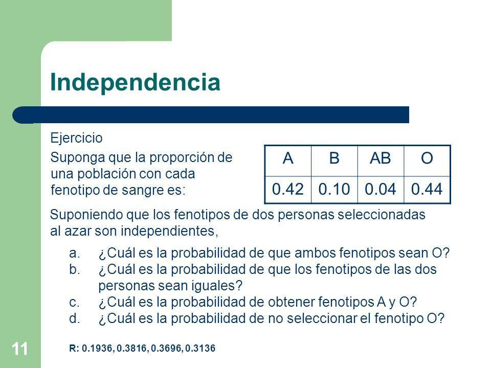 11 Independencia Ejercicio Suponga que la proporción de una población con cada fenotipo de sangre es: ABABO 0.420.100.040.44 Suponiendo que los fenoti