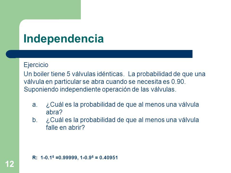 12 Independencia Ejercicio Un boiler tiene 5 válvulas idénticas. La probabilidad de que una válvula en particular se abra cuando se necesita es 0.90.