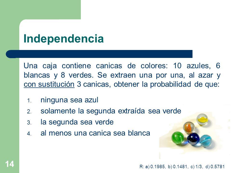 14 Independencia Una caja contiene canicas de colores: 10 azules, 6 blancas y 8 verdes. Se extraen una por una, al azar y con sustitución 3 canicas, o
