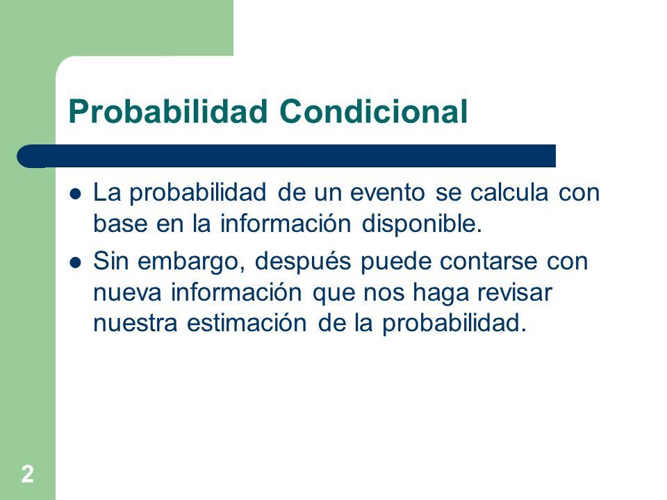 2 Probabilidad Condicional La probabilidad de un evento se calcula con base en la información disponible. Sin embargo, después puede contarse con nuev
