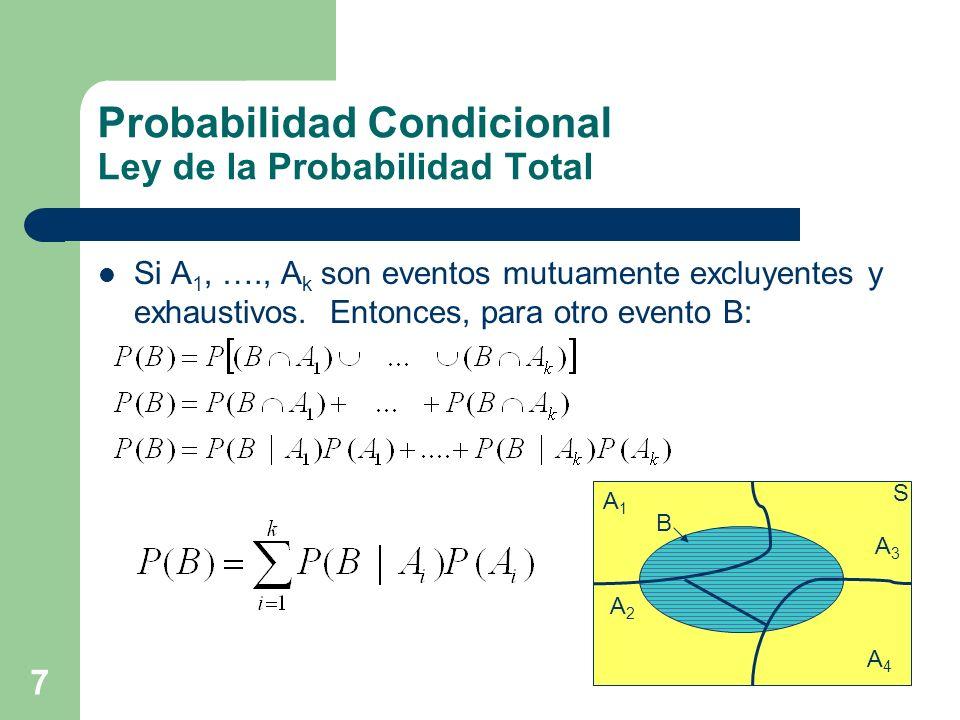 7 Probabilidad Condicional Ley de la Probabilidad Total Si A 1, …., A k son eventos mutuamente excluyentes y exhaustivos. Entonces, para otro evento B