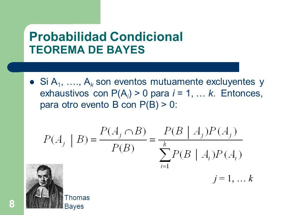 8 Probabilidad Condicional TEOREMA DE BAYES Si A 1, …., A k son eventos mutuamente excluyentes y exhaustivos con P(A i ) > 0 para i = 1, … k. Entonces