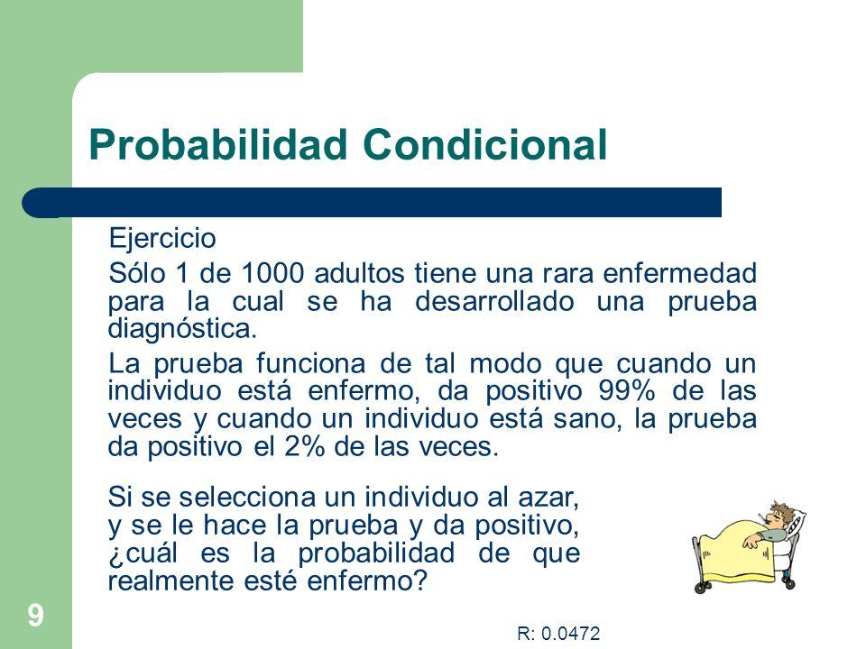 9 Probabilidad Condicional Ejercicio Sólo 1 de 1000 adultos tiene una rara enfermedad para la cual se ha desarrollado una prueba diagnóstica. La prueb