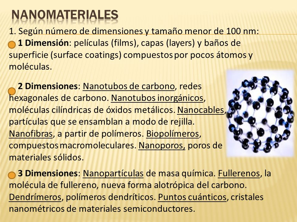 2.Según número de dimensiones y tamañno: Superficies nanotexturizadas.