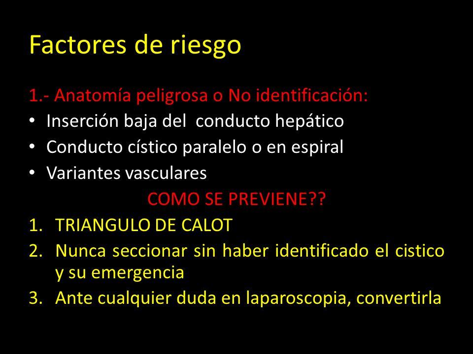 Factores de riesgo 1.- Anatomía peligrosa o No identificación: Inserción baja del conducto hepático Conducto cístico paralelo o en espiral Variantes vasculares COMO SE PREVIENE?.