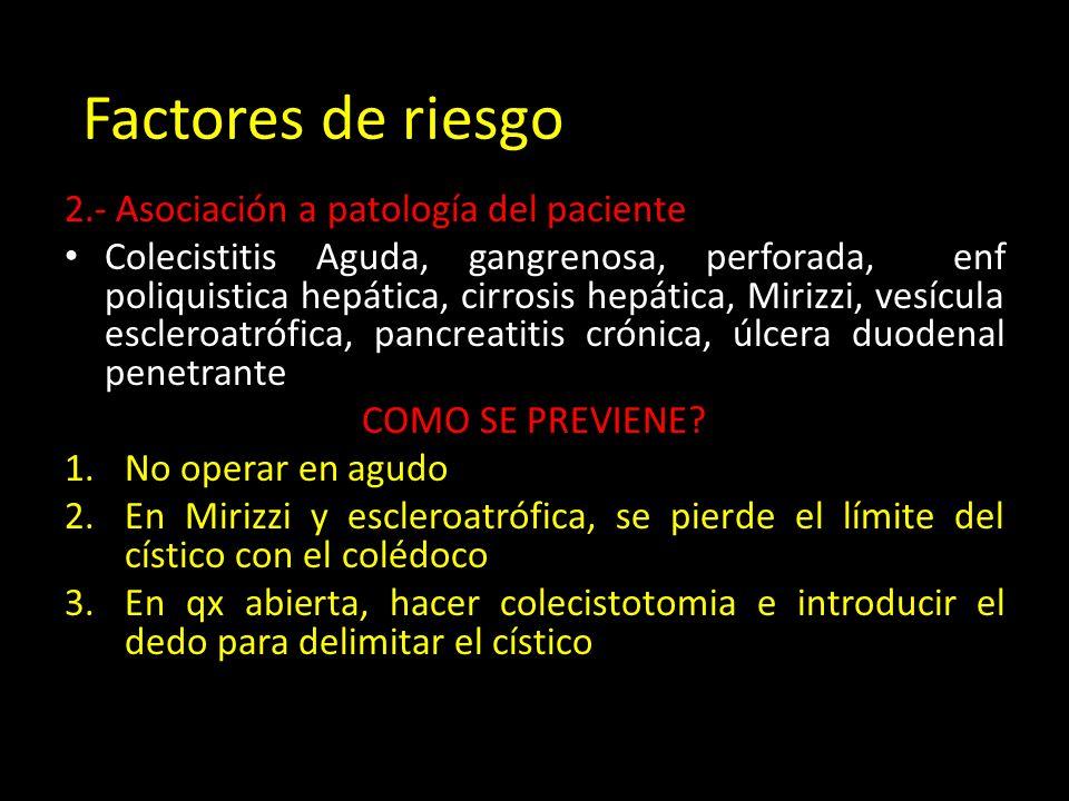 2.- Asociación a patología del paciente Colecistitis Aguda, gangrenosa, perforada, enf poliquistica hepática, cirrosis hepática, Mirizzi, vesícula escleroatrófica, pancreatitis crónica, úlcera duodenal penetrante COMO SE PREVIENE.