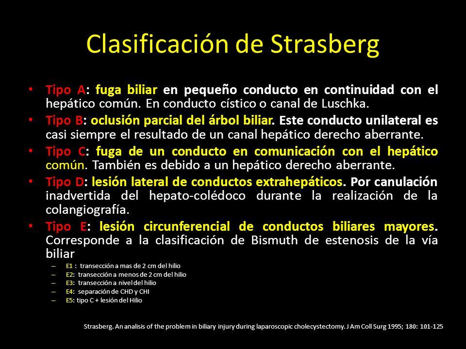 Clasificación de Strasberg Tipo A: fuga biliar en pequeño conducto en continuidad con el hepático común. En conducto cístico o canal de Luschka. Tipo