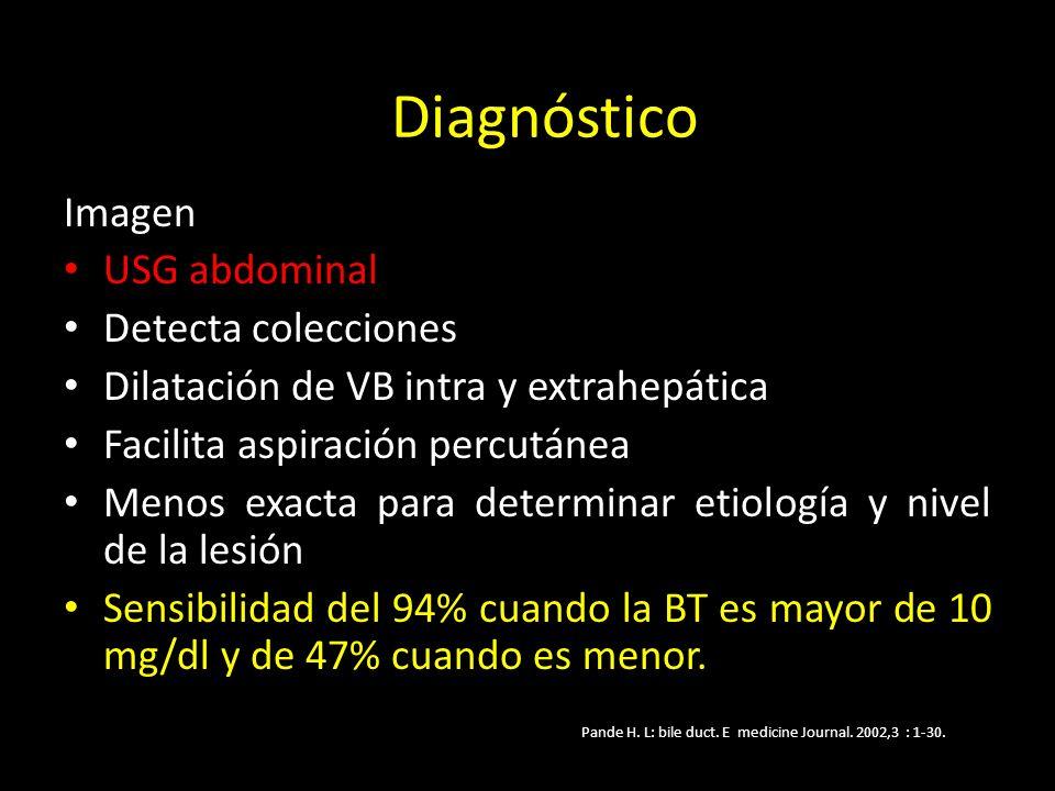 Imagen USG abdominal Detecta colecciones Dilatación de VB intra y extrahepática Facilita aspiración percutánea Menos exacta para determinar etiología y nivel de la lesión Sensibilidad del 94% cuando la BT es mayor de 10 mg/dl y de 47% cuando es menor.