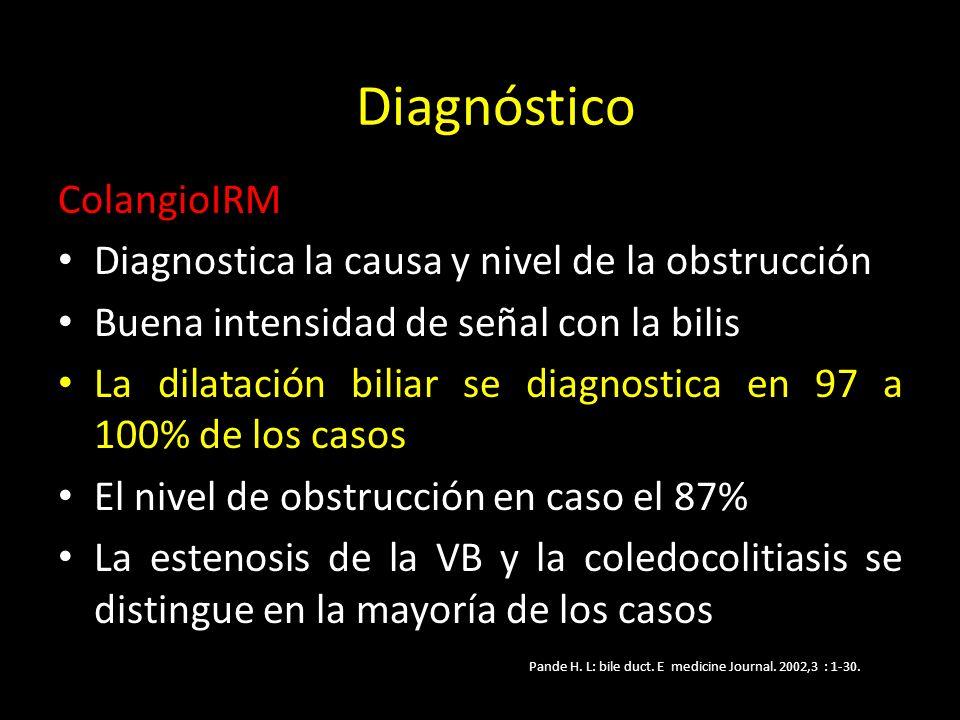 ColangioIRM Diagnostica la causa y nivel de la obstrucción Buena intensidad de señal con la bilis La dilatación biliar se diagnostica en 97 a 100% de los casos El nivel de obstrucción en caso el 87% La estenosis de la VB y la coledocolitiasis se distingue en la mayoría de los casos Pande H.