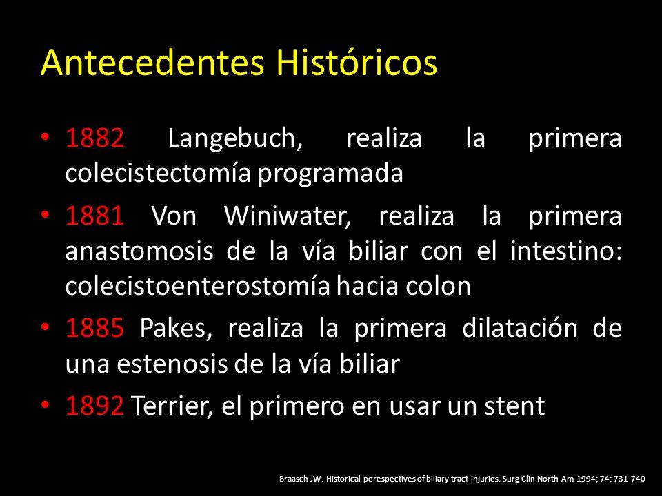 Antecedentes Históricos 1882 Langebuch, realiza la primera colecistectomía programada 1881 Von Winiwater, realiza la primera anastomosis de la vía biliar con el intestino: colecistoenterostomía hacia colon 1885 Pakes, realiza la primera dilatación de una estenosis de la vía biliar 1892 Terrier, el primero en usar un stent Braasch JW.