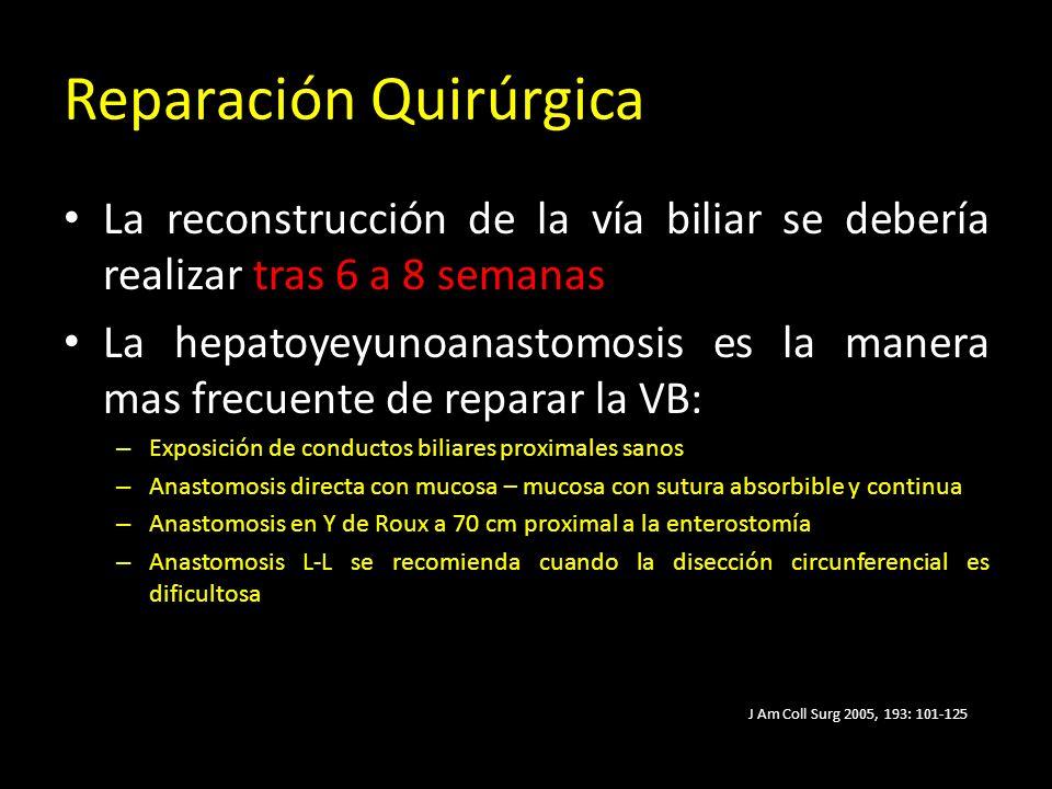 Reparación Quirúrgica La reconstrucción de la vía biliar se debería realizar tras 6 a 8 semanas La hepatoyeyunoanastomosis es la manera mas frecuente