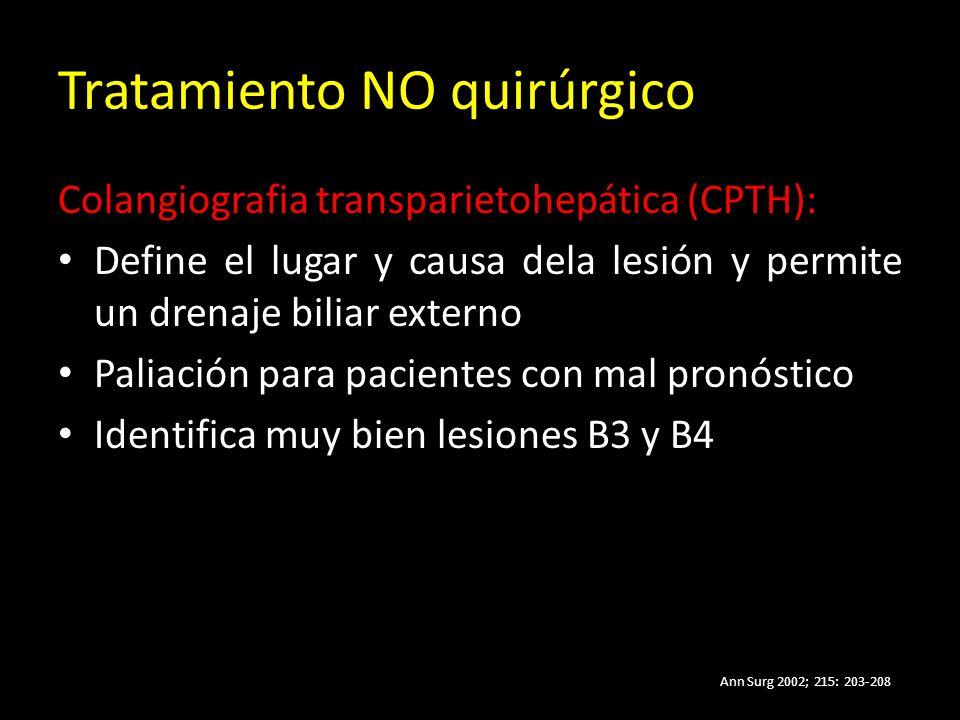 Tratamiento NO quirúrgico Colangiografia transparietohepática (CPTH): Define el lugar y causa dela lesión y permite un drenaje biliar externo Paliación para pacientes con mal pronóstico Identifica muy bien lesiones B3 y B4 Ann Surg 2002; 215: 203-208