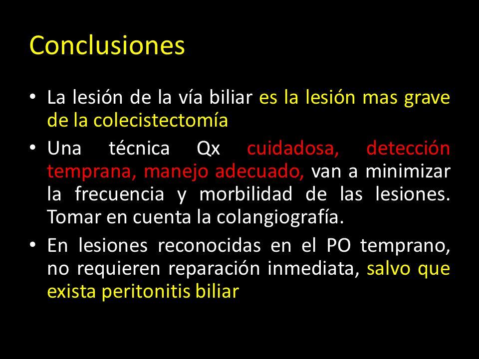 Conclusiones La lesión de la vía biliar es la lesión mas grave de la colecistectomía Una técnica Qx cuidadosa, detección temprana, manejo adecuado, van a minimizar la frecuencia y morbilidad de las lesiones.