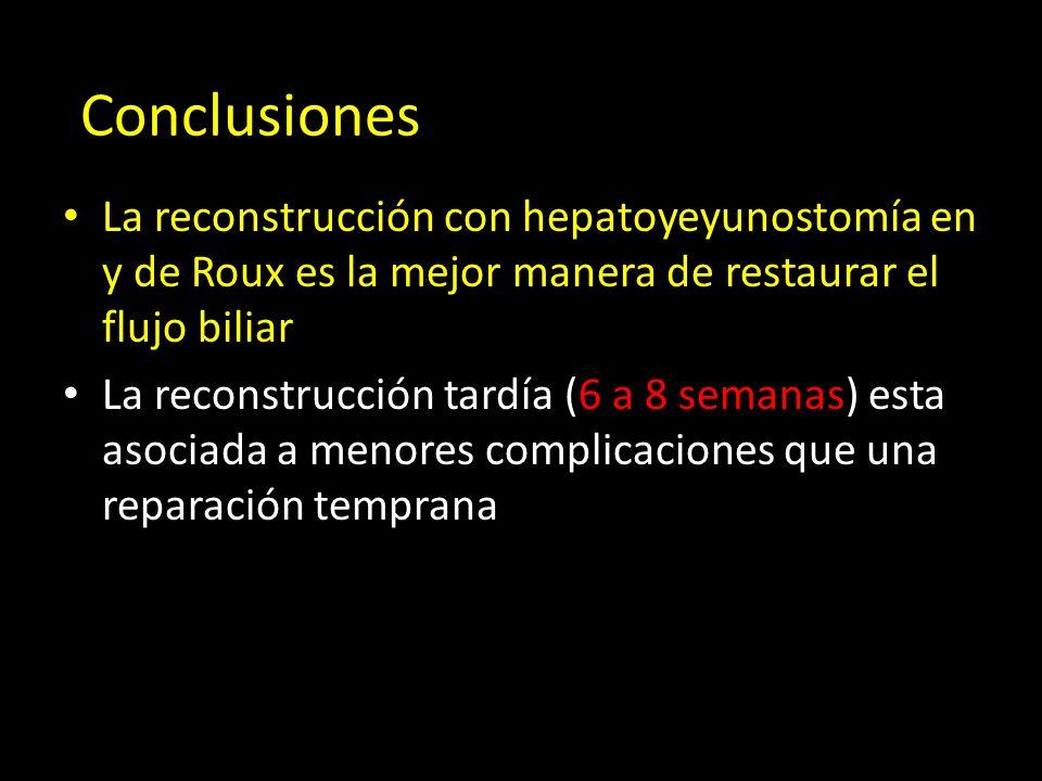 La reconstrucción con hepatoyeyunostomía en y de Roux es la mejor manera de restaurar el flujo biliar La reconstrucción tardía (6 a 8 semanas) esta asociada a menores complicaciones que una reparación temprana Conclusiones