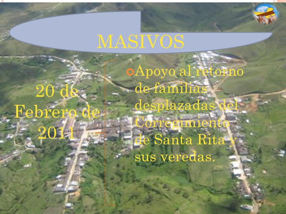 MASIVOS 20 de Febrero de 2011 Apoyo al retorno de familias desplazadas del Corregimiento de Santa Rita y sus veredas.
