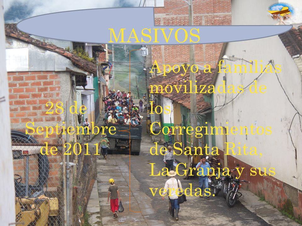 28 de Septiembre de 2011 MASIVOS Apoyo a familias movilizadas de los Corregimientos de Santa Rita, La Granja y sus veredas.