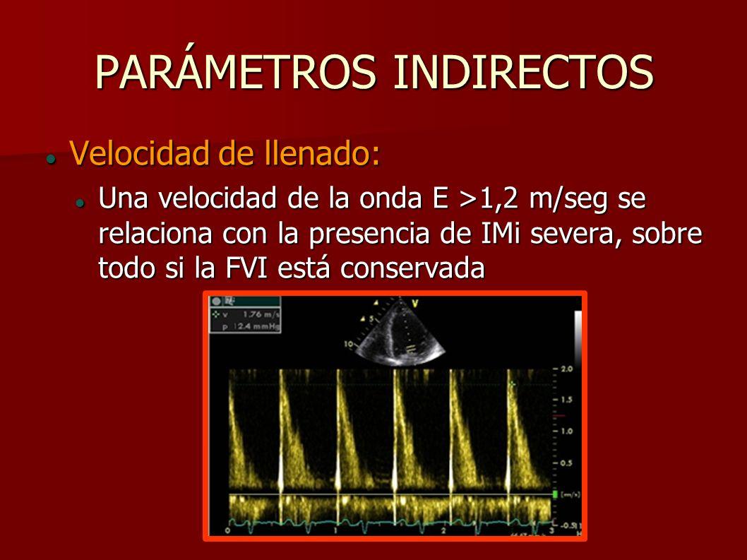 PARÁMETROS INDIRECTOS Velocidad de llenado: Velocidad de llenado: Una velocidad de la onda E >1,2 m/seg se relaciona con la presencia de IMi severa, s
