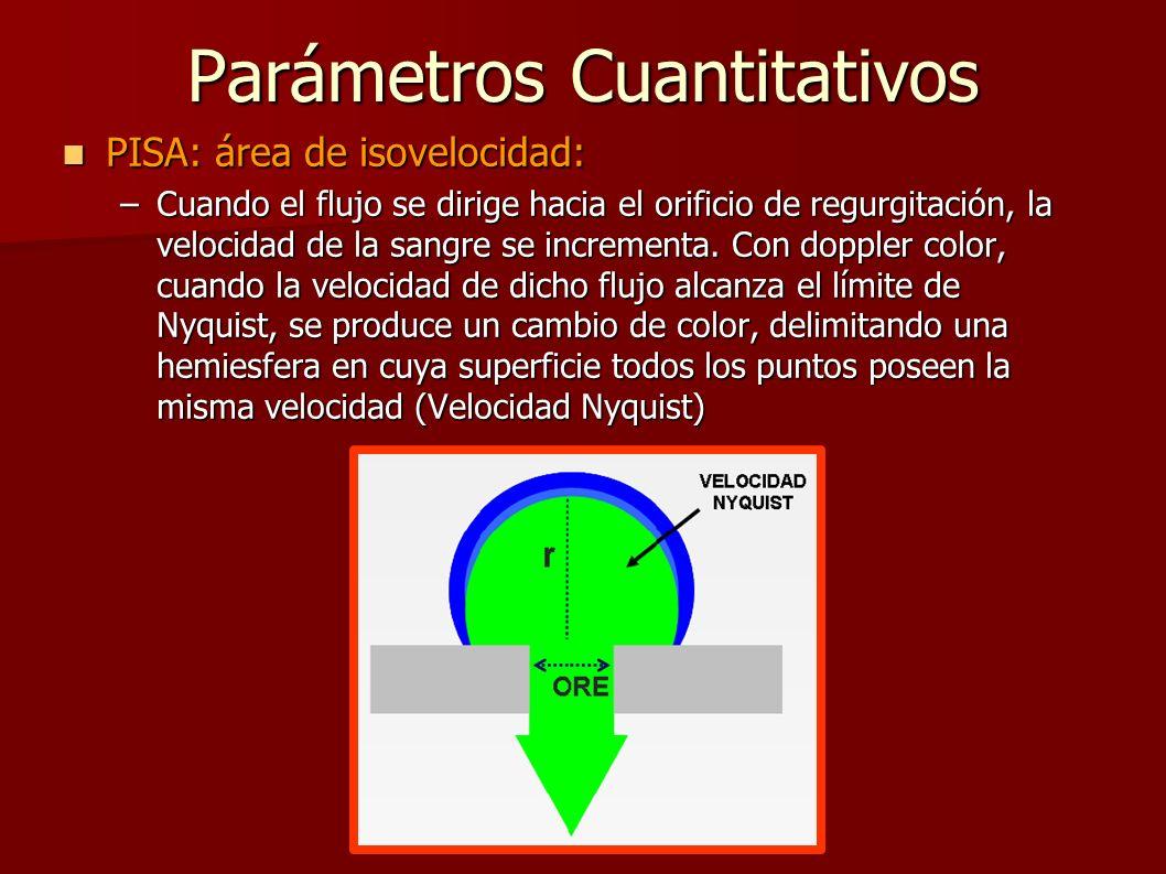 Parámetros Cuantitativos PISA: área de isovelocidad: PISA: área de isovelocidad: –Cuando el flujo se dirige hacia el orificio de regurgitación, la vel