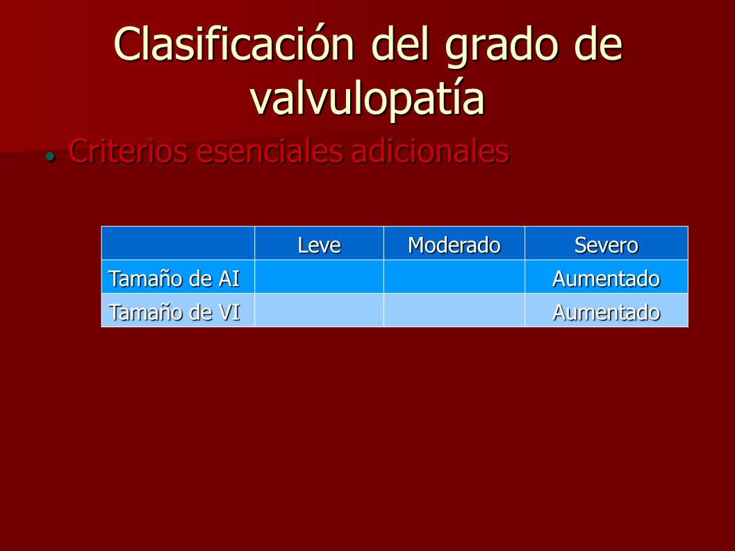 Clasificación del grado de valvulopatía Criterios esenciales adicionales Criterios esenciales adicionales LeveModeradoSevero Tamaño de AI Aumentado Ta