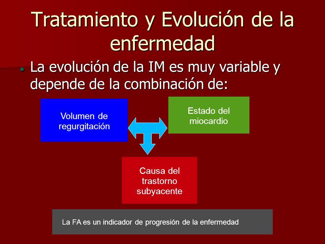 Tratamiento y Evolución de la enfermedad La evolución de la IM es muy variable y depende de la combinación de: La evolución de la IM es muy variable y