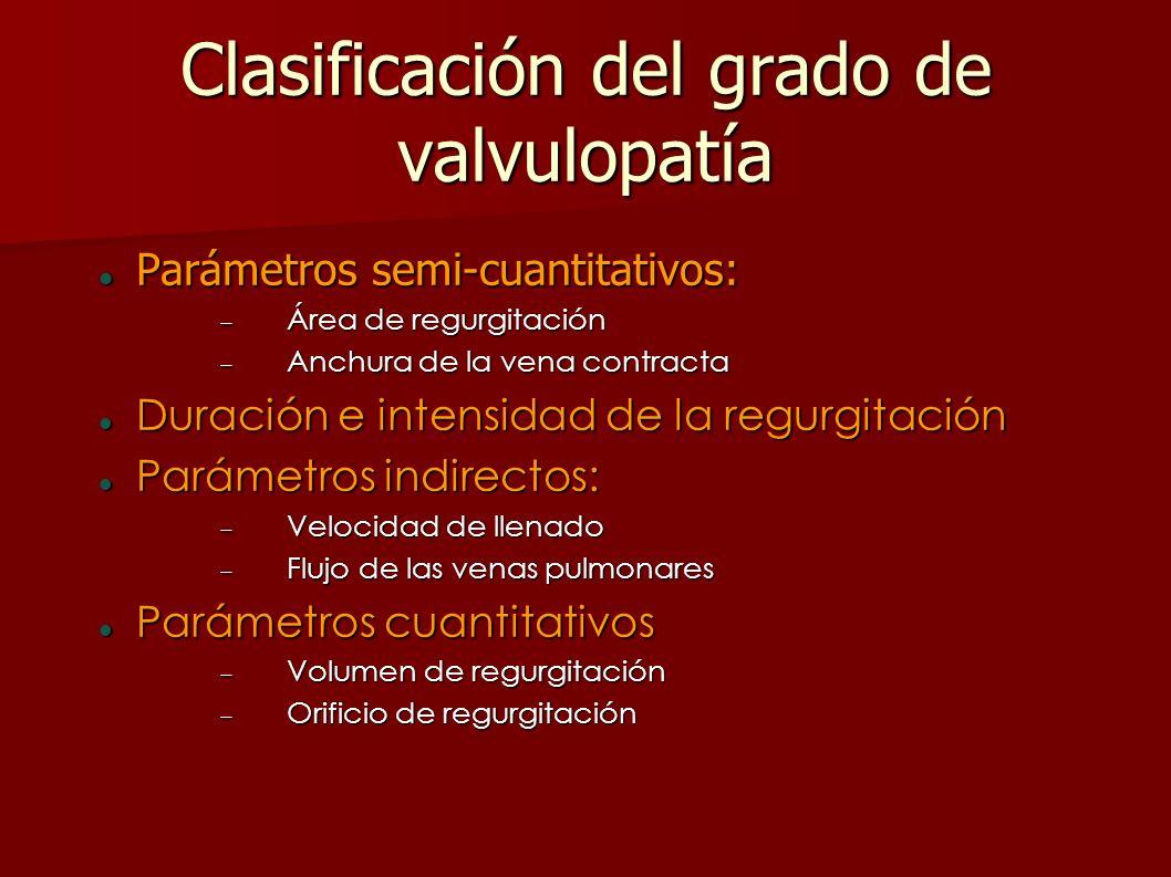 Clasificación del grado de valvulopatía Parámetros semi-cuantitativos: Parámetros semi-cuantitativos: Área de regurgitación Área de regurgitación Anch
