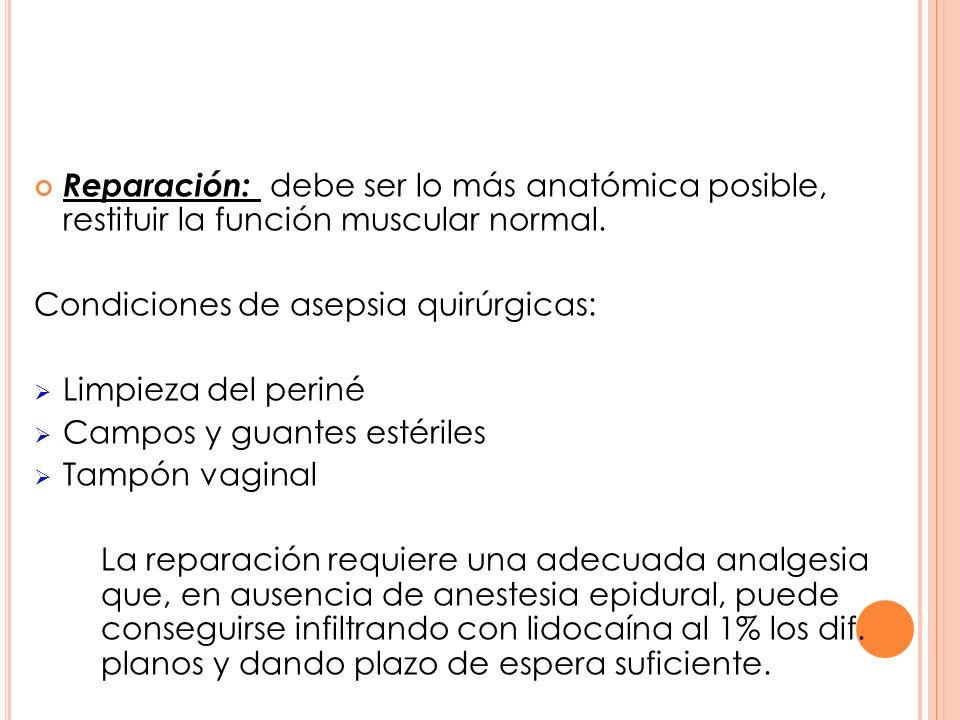 Reparación: debe ser lo más anatómica posible, restituir la función muscular normal. Condiciones de asepsia quirúrgicas: Limpieza del periné Campos y