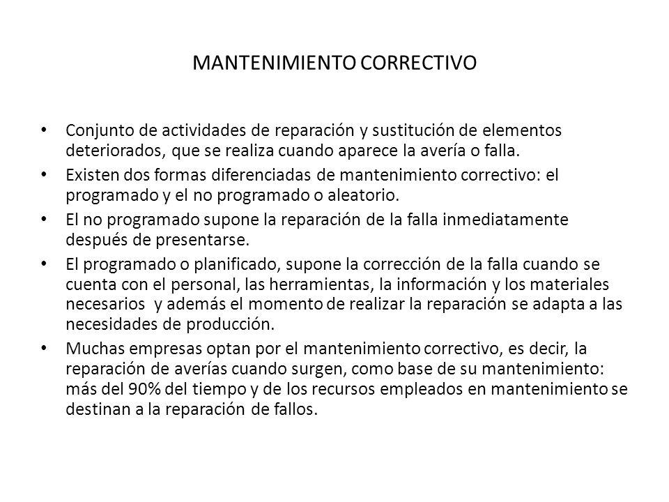 MANTENIMIENTO CORRECTIVO Conjunto de actividades de reparación y sustitución de elementos deteriorados, que se realiza cuando aparece la avería o fall