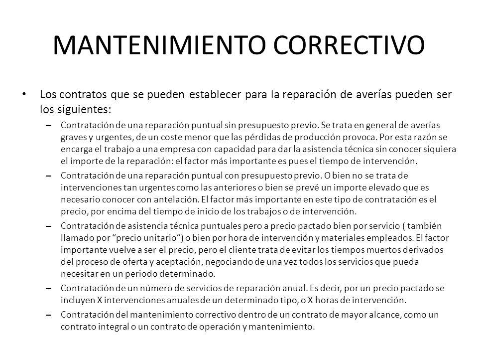 MANTENIMIENTO CORRECTIVO Los contratos que se pueden establecer para la reparación de averías pueden ser los siguientes: – Contratación de una reparac