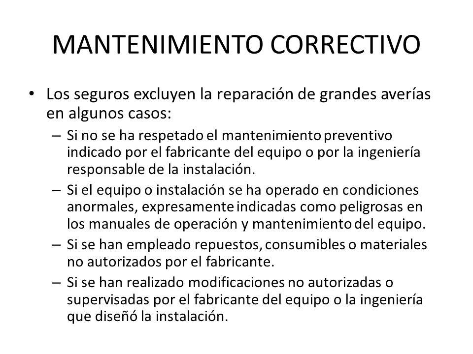 MANTENIMIENTO CORRECTIVO Los seguros excluyen la reparación de grandes averías en algunos casos: – Si no se ha respetado el mantenimiento preventivo i