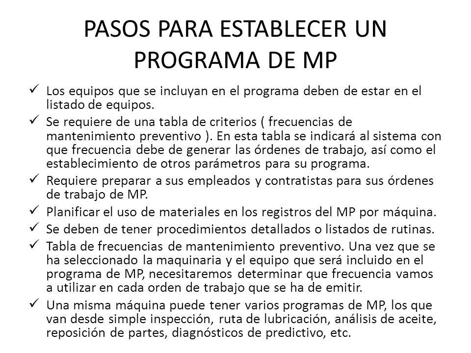 PASOS PARA ESTABLECER UN PROGRAMA DE MP Los equipos que se incluyan en el programa deben de estar en el listado de equipos. Se requiere de una tabla d