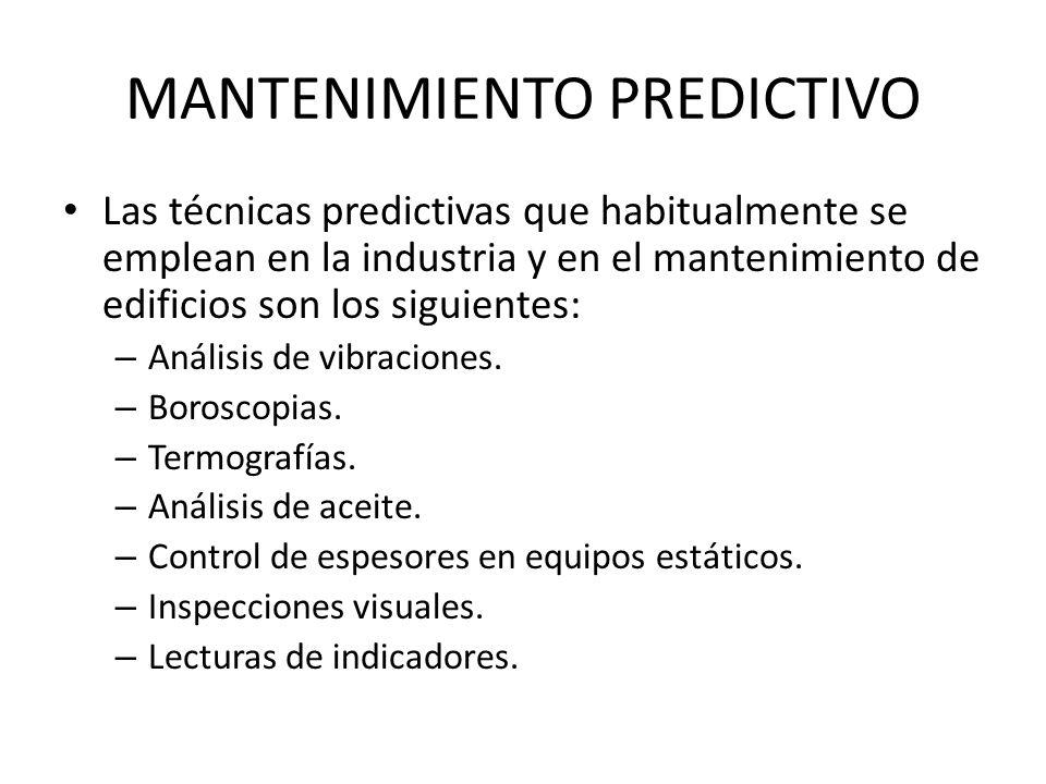MANTENIMIENTO PREDICTIVO Las técnicas predictivas que habitualmente se emplean en la industria y en el mantenimiento de edificios son los siguientes: