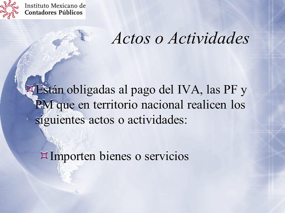 Actos o Actividades Están obligadas al pago del IVA, las PF y PM que en territorio nacional realicen los siguientes actos o actividades: Importen bien