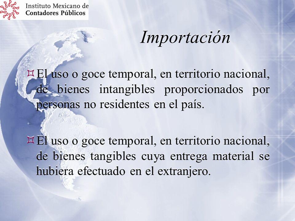 Importación El uso o goce temporal, en territorio nacional, de bienes intangibles proporcionados por personas no residentes en el país. El uso o goce