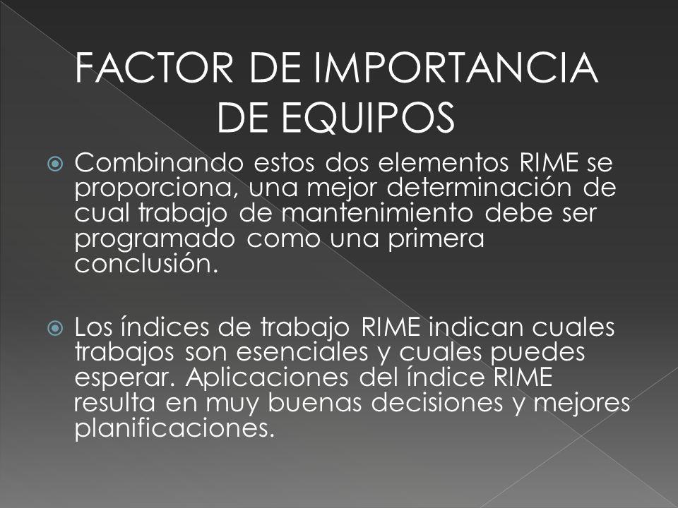 Combinando estos dos elementos RIME se proporciona, una mejor determinación de cual trabajo de mantenimiento debe ser programado como una primera conc