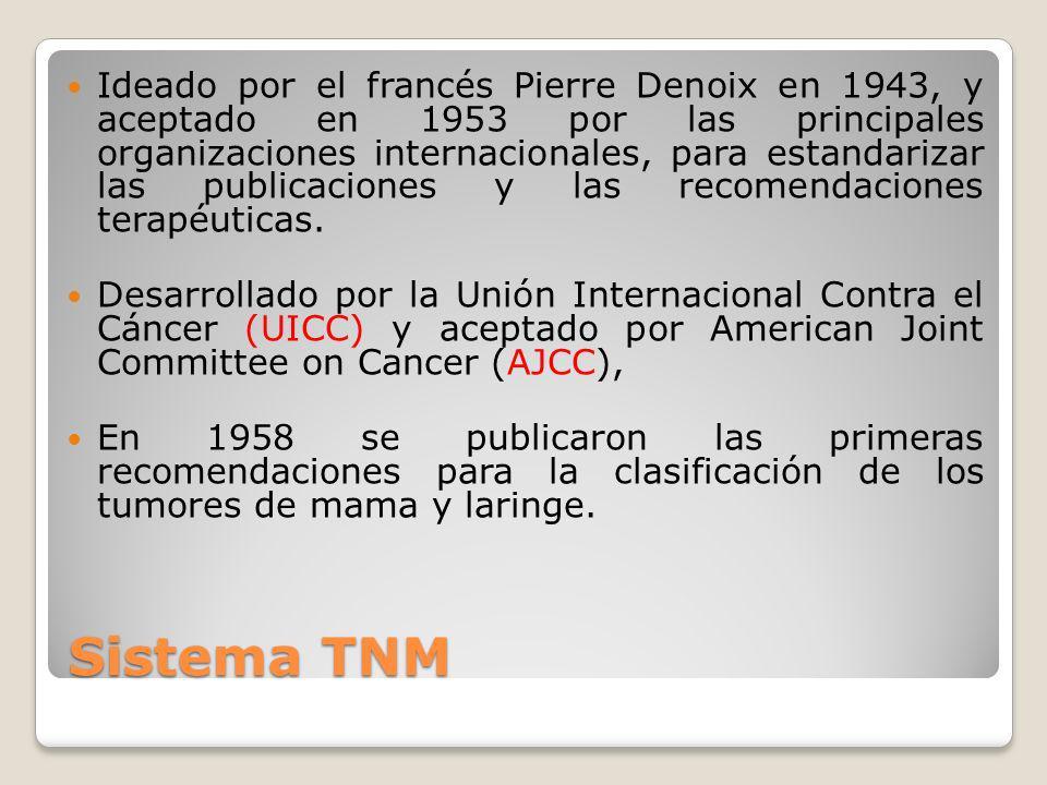 Sistema TNM Ideado por el francés Pierre Denoix en 1943, y aceptado en 1953 por las principales organizaciones internacionales, para estandarizar las