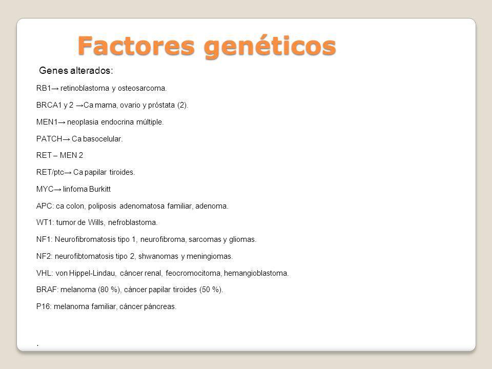 Factores genéticos Genes alterados: RB1 retinoblastoma y osteosarcoma. BRCA1 y 2 Ca mama, ovario y próstata (2). MEN1 neoplasia endocrina múltiple. PA